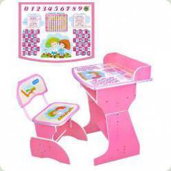 Парта Буратино с бортиком розовая