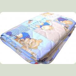 Демисезонное одеяло шерсть, бязь набивная, 105х140