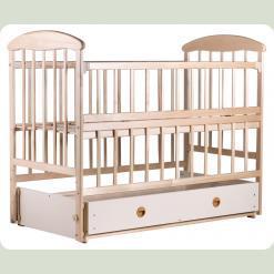 Детская кроватка Наталка Маятник Светлая с ящиком и регулируемой боковиной