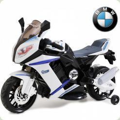 Детский электромотоцикл BMW S1000, с приставными колёсами, черный