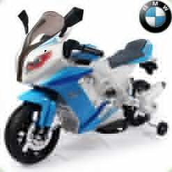 Детский электромотоцикл BMW S1000, с приставными колёсами, голубой