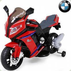 Детский электромотоцикл BMW S1000, с приставными колёсами, красный