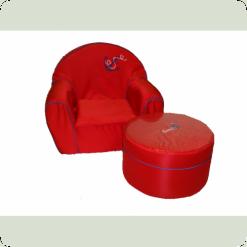Детское мягкое кресло+пуф Tako (красный)