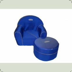 Детское мягкое кресло+пуф Tako (синий)