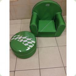 Детское мягкое кресло+пуф Tako (зеленый)