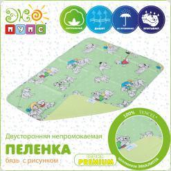 Двусторонняя непромокаемая пеленка PREMIUM, бязь с рисунком, Рамер:50х70