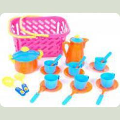 Игровой набор посуды Kinderway в корзинке (04-437) Розовая корзина