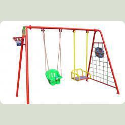 Качели детские для улицы  (2 обычных сидения+ пластиковое сидение+баскетбольное кольцо+ гладиаторская сетка+дартс)