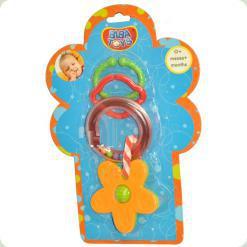Кольцевая погремушка-подвеска с прорезывателем Biba Toys Цветочки (096PP)