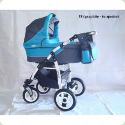 Коляска 2в1 ADBOR SIESTA 18 (graphite - turquoise)