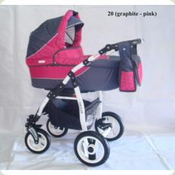Коляска 2в1 ADBOR SIESTA 20 (graphite - pink)