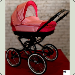 Коляска Lonex Kasia Style Розовая с малиновым 05