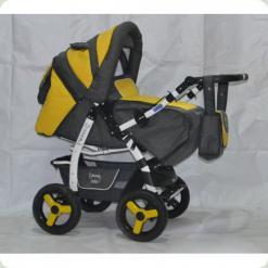 Коляска-трансформер ADAMEX YOUNG 101 (dark grey - yellow eco-leather)