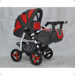 Коляска-трансформер ADAMEX YOUNG 103 (dark grey - red eco-leather)