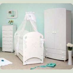 Кроватка для новорожденных 8 (декор резьба медвеженок со стразами)