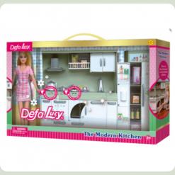 Кукла хозяюшка с кухонным гарнитуром Defa (6085)