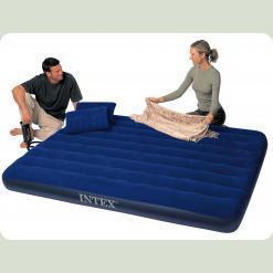 Надувной матрас Intex 68765 с двумя подушками и насосом 203x152 см
