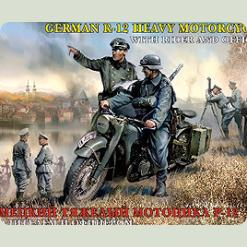 Нем. Мотоцикл Р-12 с водителем и офицером