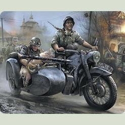 Немецкий мотоцикл БМВ Р-12 с коляской