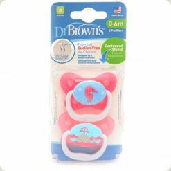 Ортодонтическая пустышка Dr. Brown's PreVent 0-6 m Розовый (12001)