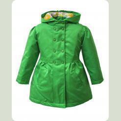 Пальто для девочки на стеганной подкладке со съемный капюшоном, зеленый