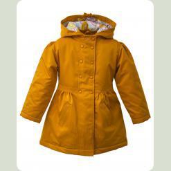 Пальто для девочки на стеганной подкладке со съемный капюшоном, желтый