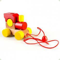 Паровозик с веревкой Красный