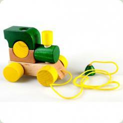 Паровозик с веревкой Зеленый