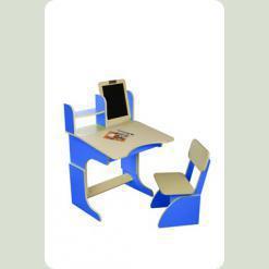 Парта с мольбертом растущая + стульчик, синяя
