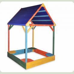 Песочница с тентовой крышей разноцветная