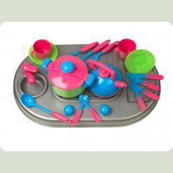 Плита Kinderway с мойкой и посудой (04-409) Розовая