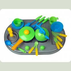 Плита Kinderway с мойкой и посудой (04-409) Зеленая