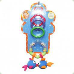 Погремушка-подвеска с кольцом и прорезывателем Biba Toys Влюбленные рыбки (106PP)