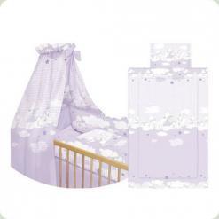 Пост. к-т Lorelli Nina Maxi (защ. 4ед., подушка, простынь, одеяло, балд.), (фиолетовый с овечками)