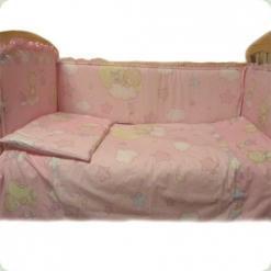 Постельный комплект Ассоль Сменный Мишка с месяцем Розовый