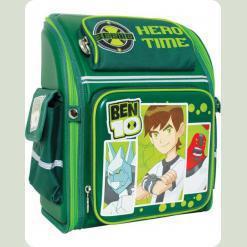 """Рюкзак школьный """"Бен-10"""" тёмно-зелёный твёрдая спина"""