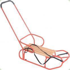 Санки OMMI со спинкой и ручкой Красный