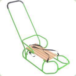 Санки OMMI со спинкой и ручкой Зеленый