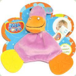 Слюнепоглощающий прорезыватель-погремушка Biba Toys Бегемотик (616JF hippo)