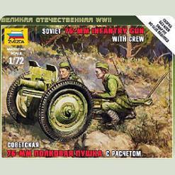 Советская 76-мм полковая пушка