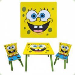 Столик Bambi D 06449 квадратный с двумя стульчиками Sponge Bob