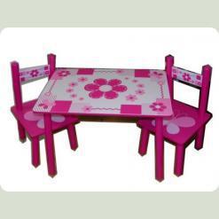 Столик Bambi M 0730 с двумя стульчиками Бело-розовый