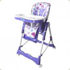 Стульчик для кормления Bambi RT 002 S Фиолетовый с сердечками