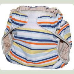 Тканевый подгузник на липучке Полосы голубой/оранж/желтый