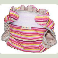 Тканевый подгузник на липучке Полосы розовый/бордо/желтый