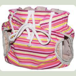 Тканевый подгузник на завязках Полосы розовый/бордо/желтый
