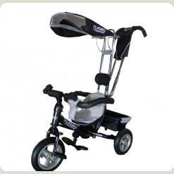 Трехколесный велосипед Profi Trike M 1649 Серо-черный (надувные колеса)