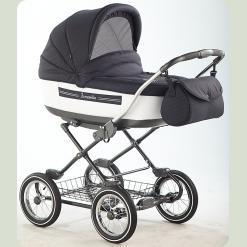 Универсальная коляска Roan Marita Lux s129-SK Черный с белым