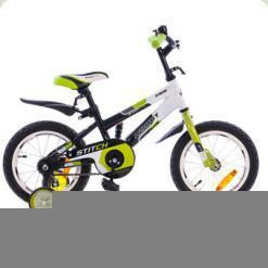 """Велосипед Azimut Stitch Premium с ручкой 14"""" Зелено-черно-белый"""