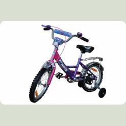 """Велосипед Марс 16"""" ручной тормоз+эксцентрик (розовый/фиолетовый)"""
